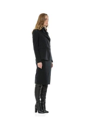 BİRELİN Kadın Lacivert Çizgili Yarım Fermuar Corine Ceket 1