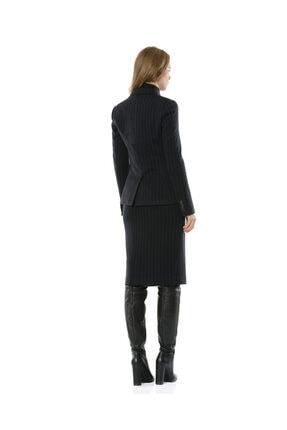 BİRELİN Kadın Lacivert Çizgili Yarım Fermuar Corine Ceket 2