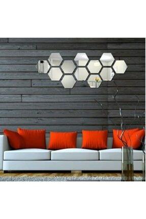 Artanhediyelik Bal Peteği Gümüş Dekoratif Altıgen 12x Süs Akrilik Ayna 11x12,5cm Antre Duvar Pleksi Yapışkan Bantlı 4