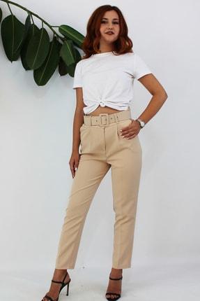VENTİUP Kadın Bej Yüksek Bel Kemerli Pantolon 0