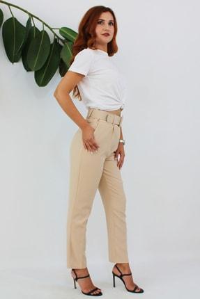 VENTİUP Kadın Bej Yüksek Bel Kemerli Pantolon 1