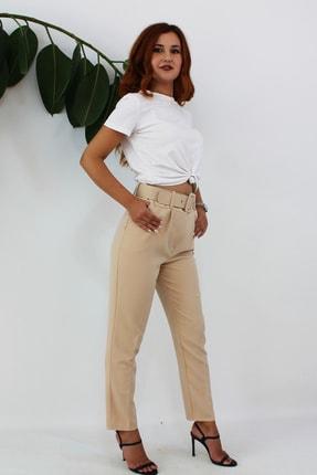 VENTİUP Kadın Bej Yüksek Bel Kemerli Pantolon 2