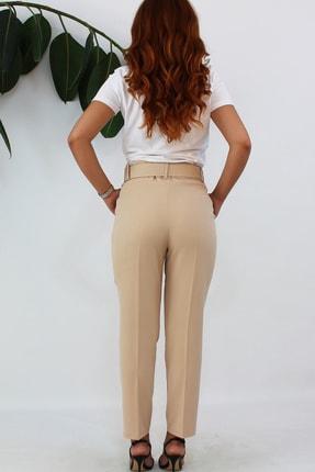 VENTİUP Kadın Bej Yüksek Bel Kemerli Pantolon 3