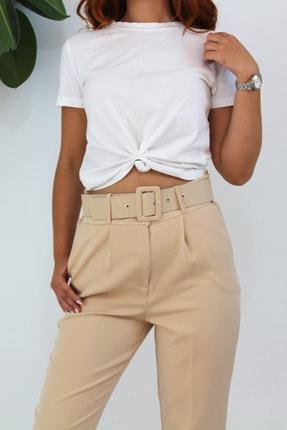 VENTİUP Kadın Bej Yüksek Bel Kemerli Pantolon 4