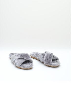 OCT Shoes Gri Çapraz Peluş Ev Terliği 1026 2