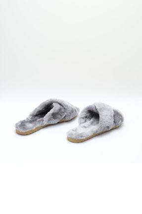 OCT Shoes Gri Çapraz Peluş Ev Terliği 1026 3