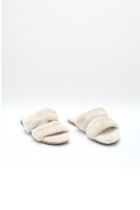 OCT Shoes Krem Düz Peluş Terlik 1027 1