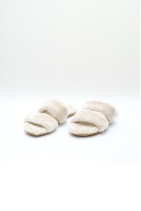 OCT Shoes Krem Düz Peluş Terlik 1027 2
