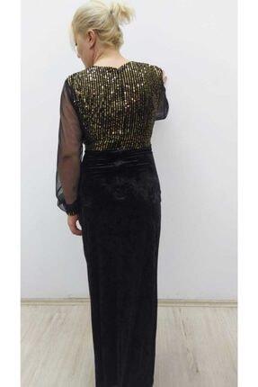 hilaltrend Kadın Siyah Kadife Pulpayet Abiye Elbise 4