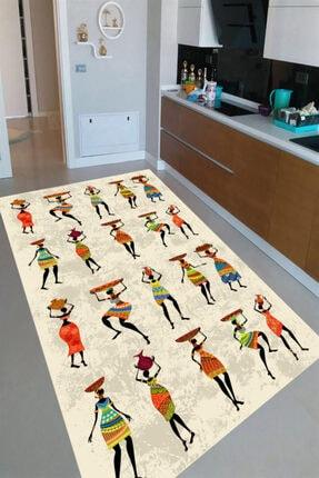 Resmiro Afrika Yerlileri Tasarımlı Dijital Baskılı Halı 0
