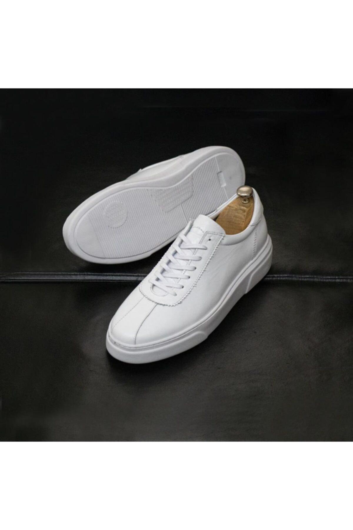 Erkek Beyaz Hakiki Deri Günlük Ayakkabı
