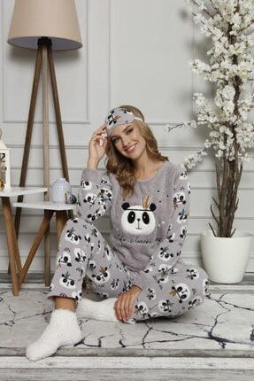 ARCAN Kadın Gri Polar Panda Desenli Nakış Detaylı Göz Bandı ve Çorap Hediyeli Pijama Takımı 1