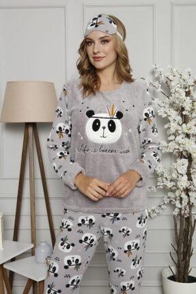 ARCAN Kadın Gri Polar Panda Desenli Nakış Detaylı Göz Bandı ve Çorap Hediyeli Pijama Takımı 2