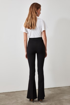 TRENDYOLMİLLA Siyah Yüksek Bel  İspanyol Paça Pantolon TWOAW20PL0094 3