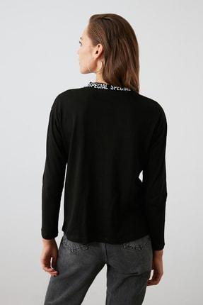 TRENDYOLMİLLA Siyah Yakası Baskılı Basic Uzun Kol Örme T-shirt TWOAW20TS0230 3