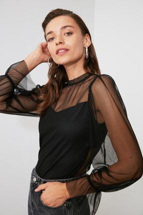 TRENDYOLMİLLA Siyah Tül Örme Bluz TWOAW20BZ1132 2