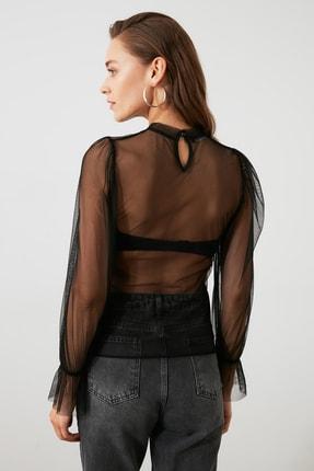 TRENDYOLMİLLA Siyah Tül Örme Bluz TWOAW20BZ1132 3