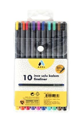 Adel Fineliner 0.4mm Kalem 10 Renk Karışık 0