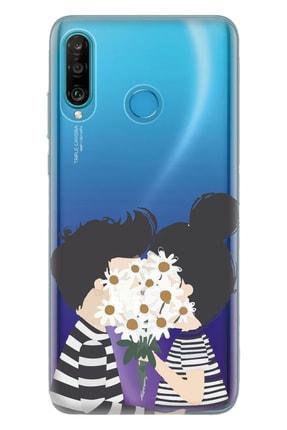 Cekuonline Huawei P30 Lite Tıpalı Kamera Korumalı Silikon Kılıf  Utangaç Aşk 0