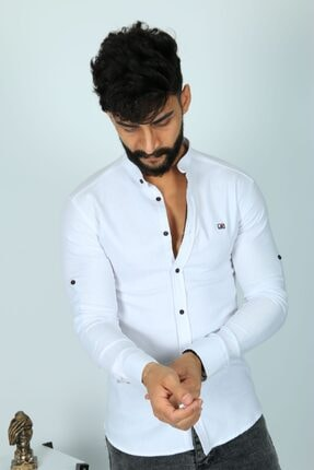 JİYAN Erkek Beyaz Slim Fit Gömlek 1