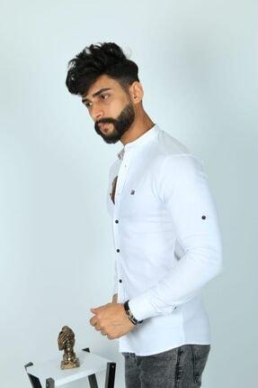 JİYAN Erkek Beyaz Slim Fit Gömlek 2