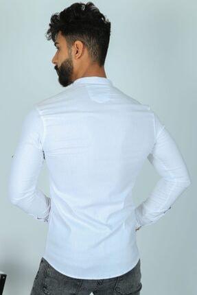JİYAN Erkek Beyaz Slim Fit Gömlek 3