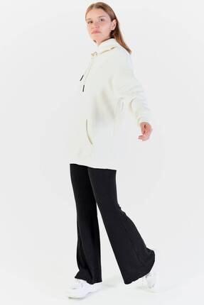 Addax Kadın Ekru Kapüşonlu Sweatshirt  S8641 2