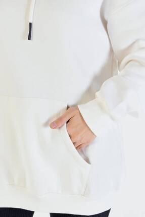 Addax Kadın Ekru Kapüşonlu Sweatshirt  S8641 3
