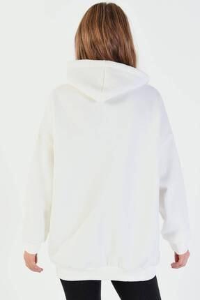 Addax Kadın Ekru Kapüşonlu Sweatshirt  S8641 4