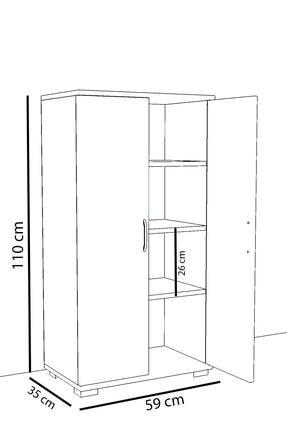 Remaks 110 cm 2 Kapaklı Çok Amaçlı Mutfak Dolabı - Beyaz 2