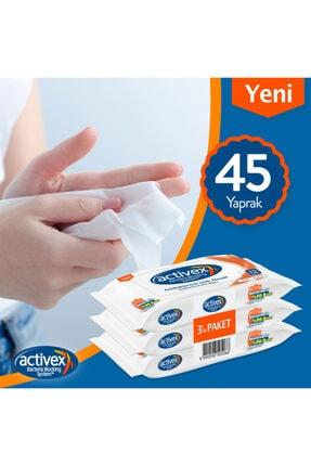 Activex Antibakteriyel Islak Mendil Aktif 3 Adet Cep Boy 45 Yaprak 1