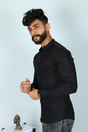 JİYAN Erkek Siyah Uzun Kollu Gömlek 1