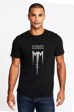 Collage Marilyn Manson Mm Baskılı Siyah Erkek Örme Tshirt T-shirt Tişört T Shirt 0