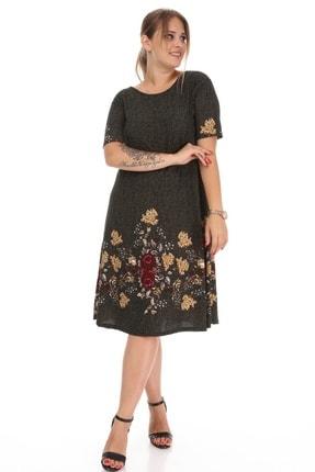 Alesia Kadın Haki Çiçek Desenli Elbise 1