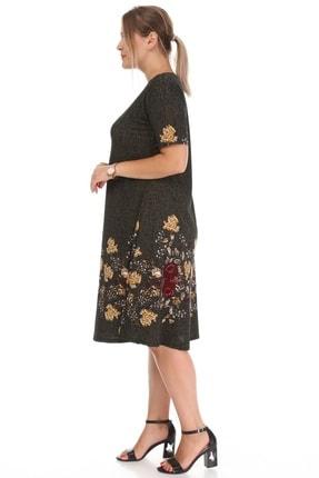 Alesia Kadın Haki Çiçek Desenli Elbise 2