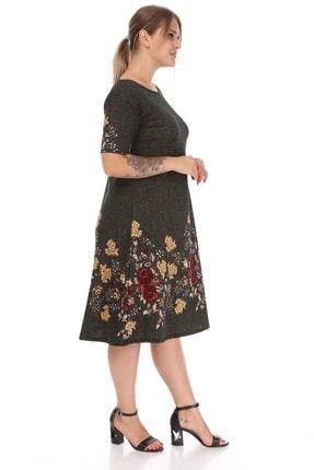 Alesia Kadın Haki Çiçek Desenli Elbise 4