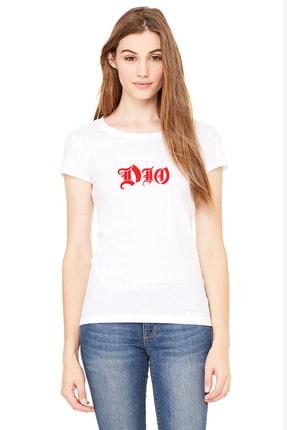 Collage Dio Baskılı Beyaz Kadın Örme Tshirt T-shirt Tişört T Shirt 0