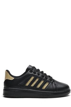 Ayakkabı Modası Kadın Siyah Simli Spor Ayakkabı 4 Bantlı 0
