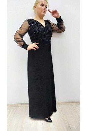 hilaltrend Kadın Siyah Kadife Pul Payet İşlemeli Abiye Elbise 2
