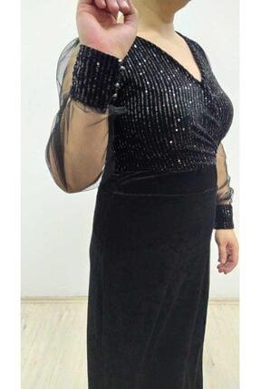 hilaltrend Kadın Siyah Kadife Pul Payet İşlemeli Abiye Elbise 4