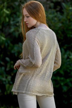 Chiccy Kadın Taş Rengi Italyan Pul Detaylı Kolları Ve Etek Ucu Danteli Ispanyol Kol Triko Bluz 2
