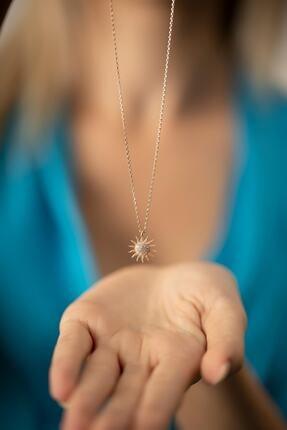 İzla Design Kadın Güneş Model Rose Kaplama Gümüş Italyan Kolye 0