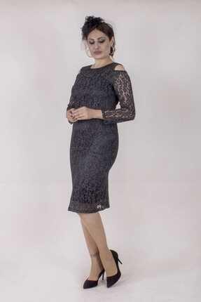 Paristan Kadın Siyah Abiye Elbise Dantel Ve Swarovski Taşlı 1