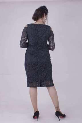 Paristan Kadın Siyah Abiye Elbise Dantel Ve Swarovski Taşlı 4