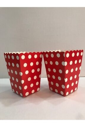 Deniz Party Store Popcorn Kutusu Mısır Cips Kutusu Kırmızı Puanlı 10 Adet 0