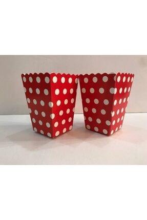 Deniz Party Store Popcorn Kutusu Mısır Cips Kutusu Kırmızı Puanlı 10 Adet 1