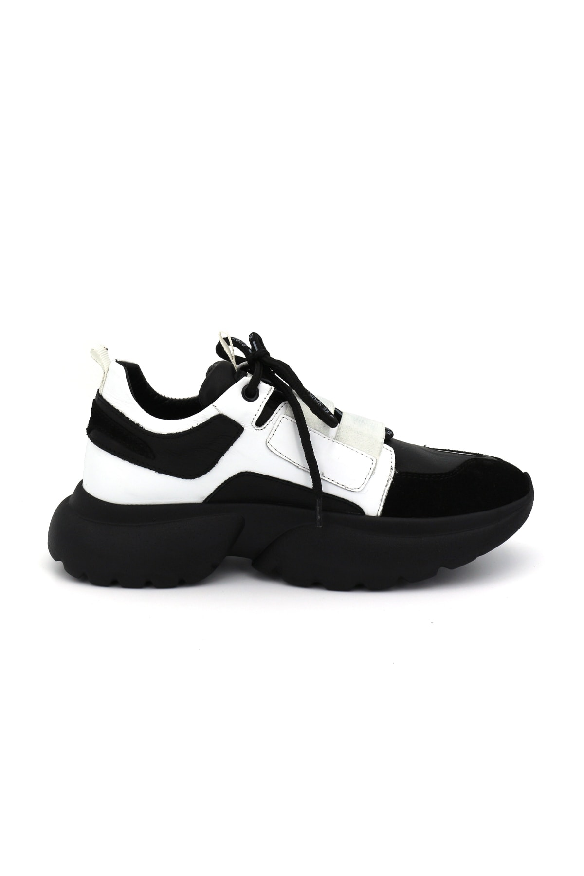 Bestello Kadın Siyah Yeşil Cırtlı Poliüretan Taban Sneaker