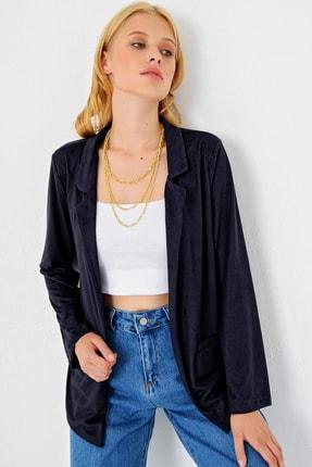 Trend Alaçatı Stili Kadın Lacivert Süet Ceket MDS-280-CKT 0