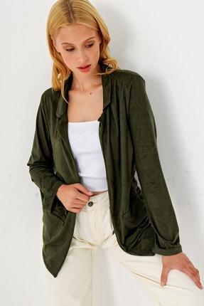 Trend Alaçatı Stili Kadın Yeşil Süet Ceket MDS-280-CKT 2