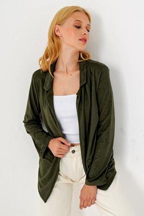 Trend Alaçatı Stili Kadın Yeşil Süet Ceket MDS-280-CKT 3